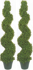 "2 BOXWOOD SPIRAL TOPIARY ARTIFICIAL OUTDOOR UV TREE 4' 2"" POOL PATIO BUSH 50"" 67"