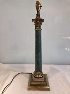 Antique Vintage Marble & Bronze Corinthian Column Table Lamp
