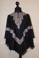 Kashmir Poncho Black with Grey - New - India - Ethnic (item xp25b)