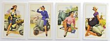 Scooter Vespa Set of 4 Pinup Sexy Girl Modern Postcard 4 X 6 in. Grape girl