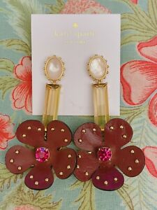 Kate Spade  Blooming Bling Leather Linear(Russet Multi) Earring, NWT $88