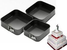 THREE PIECE SPRINGFORM NON STICK SQUARE PAN SET TRAY TINS 24/26/28CM CAKE BAKING