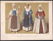 1850 lithographie costumes mode paysannes chambrière de Saumur