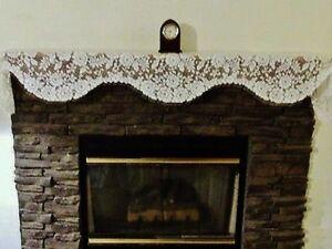 "Ivory Victorian Rose Lace Mantel Scarf 15.5"" x 84"" Den Livingroom Piano Sofa"