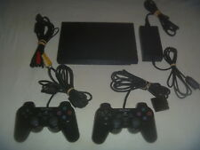 Sony Playstation 2 PS2 Slim System Console Charcoal Black With 2 Controllers