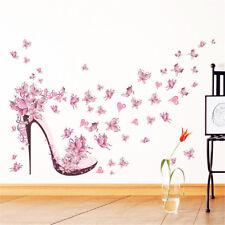 High Heel Shoes Flying Butterflies Flower Wall Sticker Wall Decals Home Decor