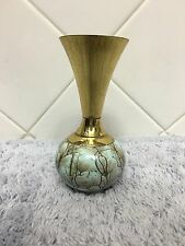 Vintage Mid Century Delfts Delftware Holland Brass Top Vase