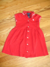 RALPH LAUREN GIRLS DRESS size 4 4T RED WHITE PONY 100% COTTON BUTTON DOWN
