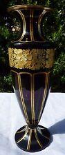 Moser Amethyst Art Glass Vase Gold Leaf Floral Frieze Purple Gilt Decor