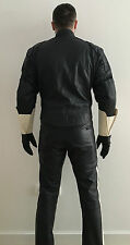 Motorcycle Police Leather Suit Uniform Cop Biker Pants Breeches Jacket Skin Bluf