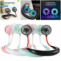 Portable Lazy Neck Hanging Fan USB Rechargeable Neckband Dual Cooling Mini Fan