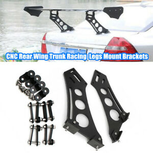 """Black Car Tail Spoiler Stand CNC Rear Wing Trunk Racing Legs Mount Brackets 10"""""""