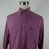 Faconnable Mens LS Button Up Red White Blue Plaid Dress Shirt Medium USA Made