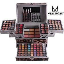 Miss Rose 136Pc Leopard Print Make up Vanity Case Cosmetic Kit Box Eyeshadow Set
