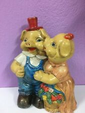 Rare ! Old Vintage Ceramic Piggy Bank Male And Female Pigs