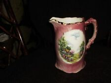 VINTAGE SPRAY GILDED JUG WITH PRETTY PICTURE PANELS PINK GROUND ORNATE HANDLE