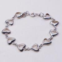 "7"", Vintage Sterling Silver Handmade Bracelet, 925 Heart Link chain"