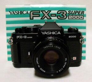 YASHICA FX-3 SUPER 2000 35mm SLR Film Camera w/f1.9 50mm ML Lens Tested Minty