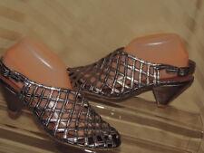 Jeffery Campbell 10 Metallic Open Weave Peep Toe High Heel Sandals Heel Strap