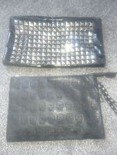 Set of 2, skull and studded clutch bags black