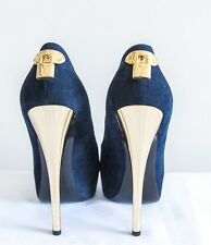 """Women Louis Vuitton """"Oh Really Peep"""" Navy Suede Gold Lock Logo Pumps Size 39"""