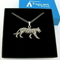 Tiger Silver Pewter Pendant On A Chain