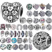 CZ 925 Charms Silver Bead Cubic Zircon Women's Jewelry For Sterling DIY Bracelet