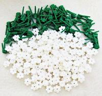 ☀️ 100 NEW WHITE LEGO FLOWERS bulk brick flower lot w/stems plant pieces friends