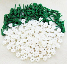 ☀️ 100 NEW WHITE LEGO FLOWERS bulk brick flower lot w/stems plant pieces friends