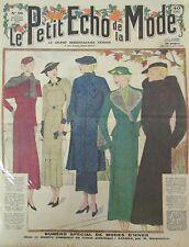 LE PETIT ECHO DE LA MODE N° 37 de 1935 GRAVURE VINTAGE MODE D HIVER MANTEAUX