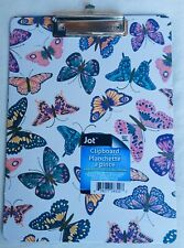 Clipboard-Document Holder-Hangable-White With Butterflies