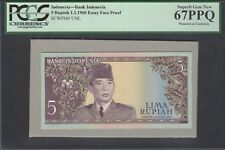Indonesia Face 5 Rupiah 1-1-1960 Pick Unlisted Essay Proof Uncirculated