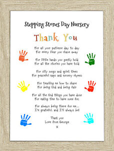 Personalised Leaving Pre-School Thank You Gift For Teacher Nursery A4 Print