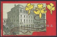 COMO CITTÀ 135 PLINIUS GRAND HOTEL ALBERGO Illustratore CHIATTONE Cartolina 1900