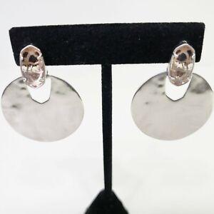 Kendra Scott Earrings Deena Silver Tone Rhodium Drop Pink Glass