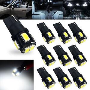 JDM ASTAR 10x White T10 Wedge 5630 SMD LED License Plate Light Bulb 194 168 2825