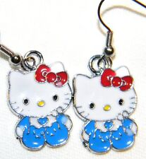 #2702 Darling Baby Hello Kitty in Blue w/Red Bow Metal Charms Dangle Earrings