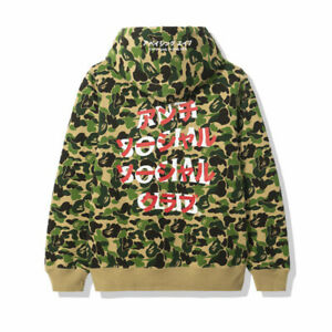 Mens Women assc joint BAPE camouflage pullover couple Hoodies Hooded coat jacket
