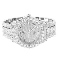 Techno Pave Watch Bling Rapper Simulated Diamond Iced Out Roman Num Bling Analog