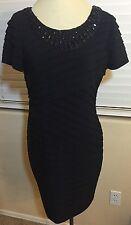 Adrianna Papell Embellished Neck Banded Pleat Sheath Dress  Black Size: 10P