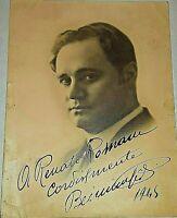 BENIAMINO GIGLI tenore opera  FOTOGRAFIA  ORIGINALE CON DEDICA AUTOGRAFA 1945