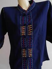 Lanna Northern Thai Thailand T Shirt Blue  M LW01 Free Shipping