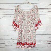 Umgee Geometric Print Shift Dress Size Medium boho flounce sleeve pockets