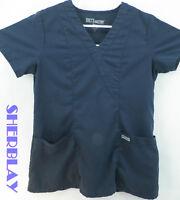 GREY'S ANATOMY Scrub Top by Barco Navy Blue Uniform Shirt Size Small