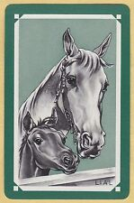 1 Single VINTAGE Swap/Playing Card HORSE HEADS MARE & FOAL Artist LIAL Green