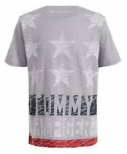 BNEW TOMMY HILFIGER Boys Textured Star & Stripe Logo T-Shirt, Grey, Large