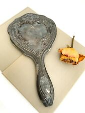 Vintage Laure Silver Plated Hand Held Mirror | Monogrammed Mirror with Flowers