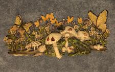 "Retro 1971 Burwood Prod Co Homco 3D wall plaque mushrooms frogs 40""x19"" Rare Htf"