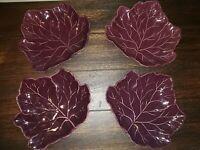 The Cellar for Macy's Tullo Purple Eggplant Color Leaf Plate Dish Set Of 4 EUC