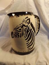 Beautiful Ceramic Zebra Pitcher - Signed - Large 9-inches - Must See!